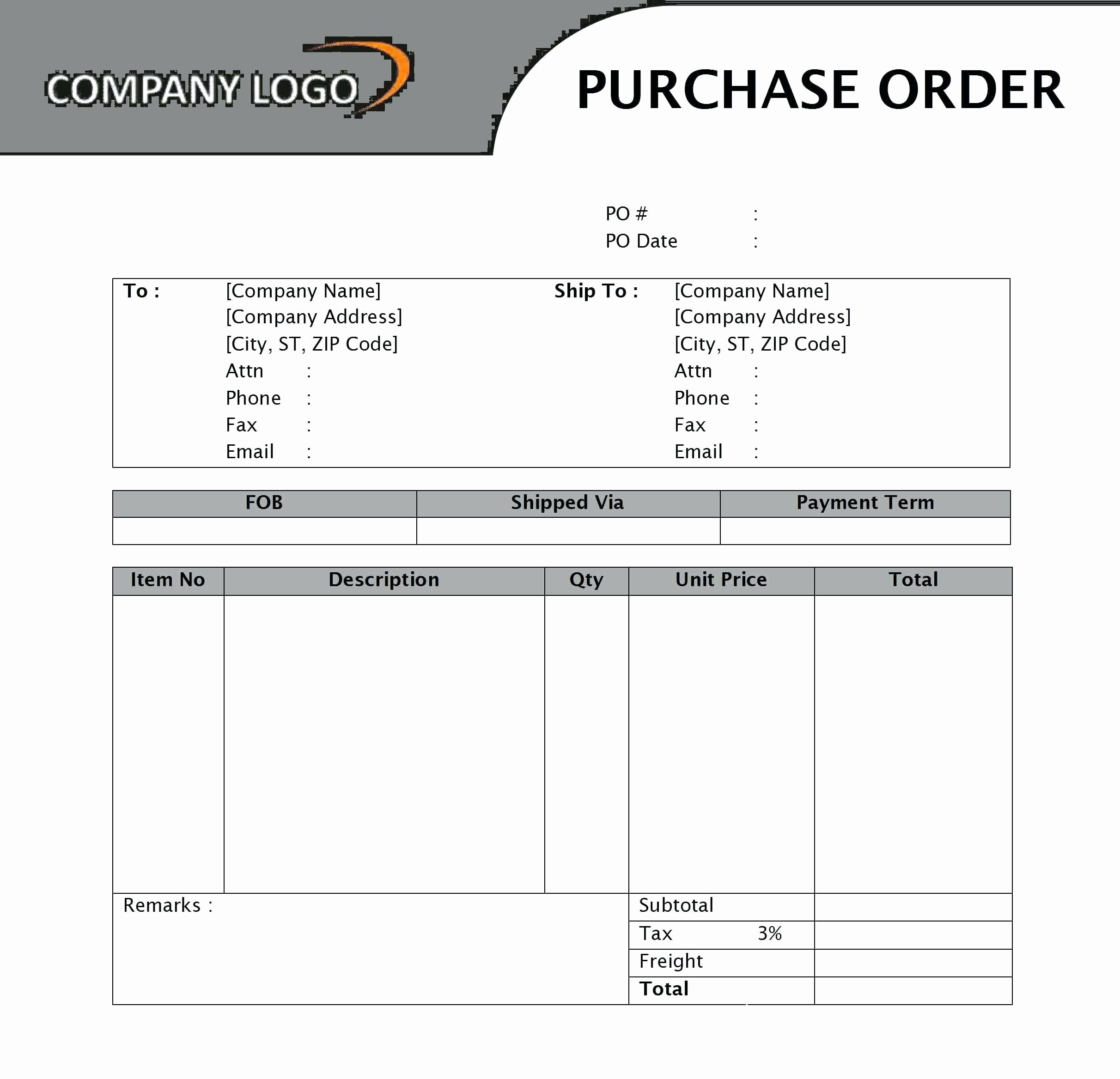 Purchase order Template Doc Awesome Template Purchase order Template Doc