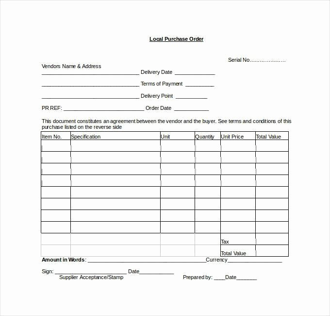 Purchase order Template Doc Beautiful Purchase order Template Word