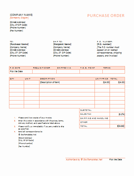 Purchase order Template Doc Inspirational 40 Free Purchase order Templates forms