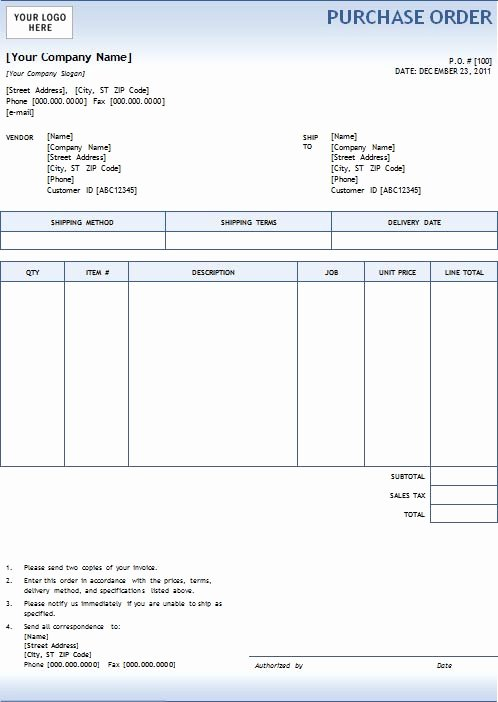 Purchase order Template Doc Inspirational New Blank Purchase order