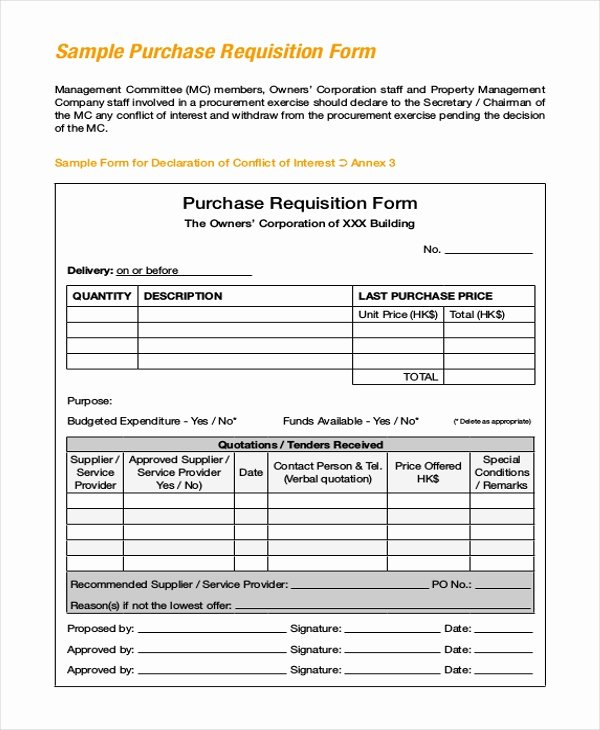 Purchase Requisition form Template Beautiful Sample Purchase Requisition forms 8 Free Documents In