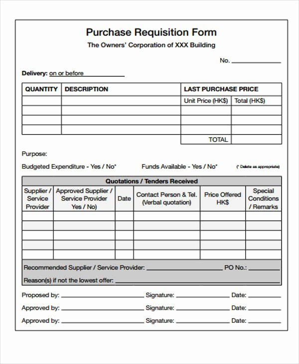 Purchase Requisition form Template Luxury 43 Free Requisition forms