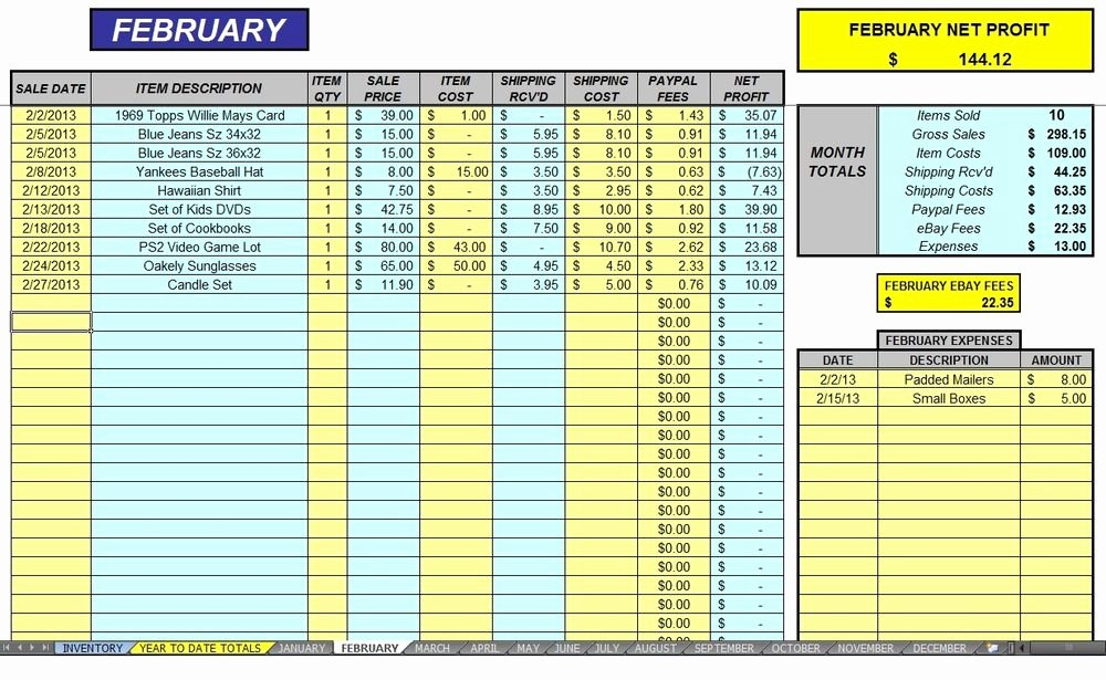 Purchase Sales Inventory Excel Template Beautiful Ebay 12 Month Auction Accounting Sales Profit & Expense