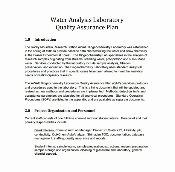 Quality assurance Plan Template Beautiful 7 Quality assurance Plan Template Word Pdf Ppt