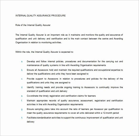 Quality assurance Plan Template Elegant 7 Quality assurance Plan Template Word Pdf Ppt