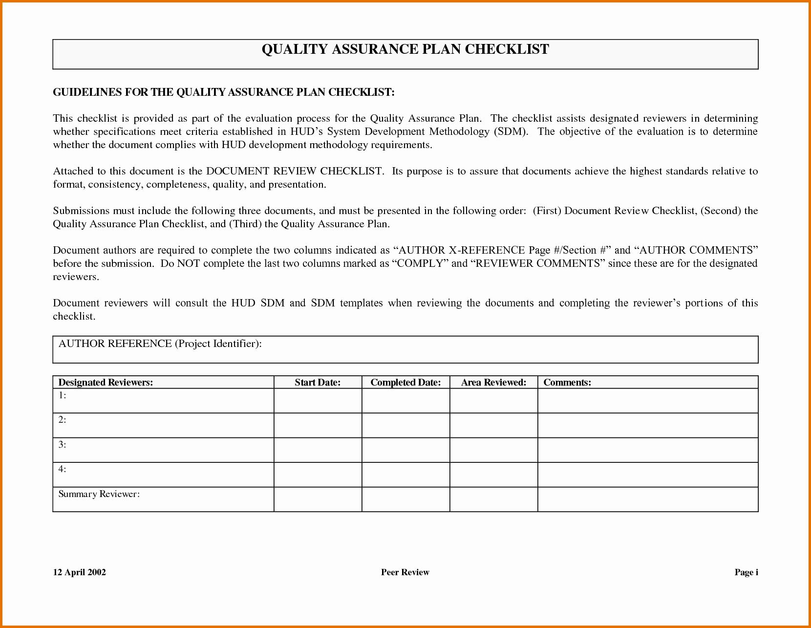 Quality assurance Plan Template Elegant Quality assurance Plan Templatereference Letters Words