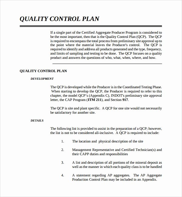 Quality assurance Program Template Awesome 9 Quality Control Plan Templates