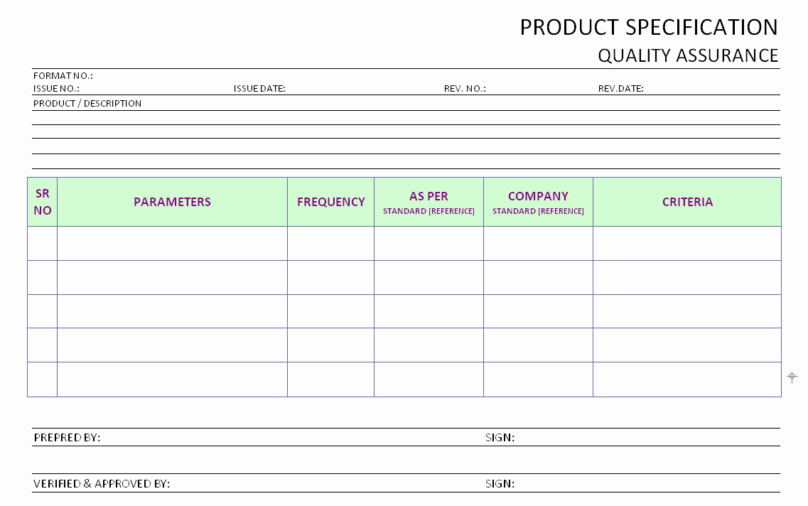 Quality assurance Reports Template Lovely Product Specification Operational Quality assurance