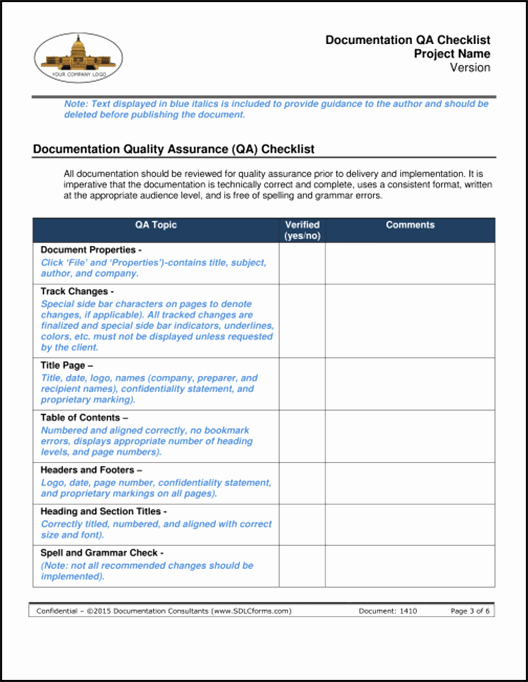 Quality assurance Reports Template Lovely Sdlcforms Documentation Qa Checklist Template