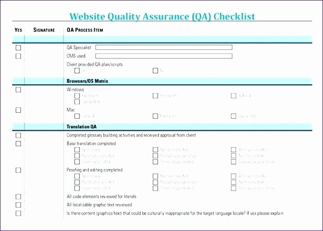 Quality assurance Reports Template Lovely Website Quality assurance Checklist Template Home