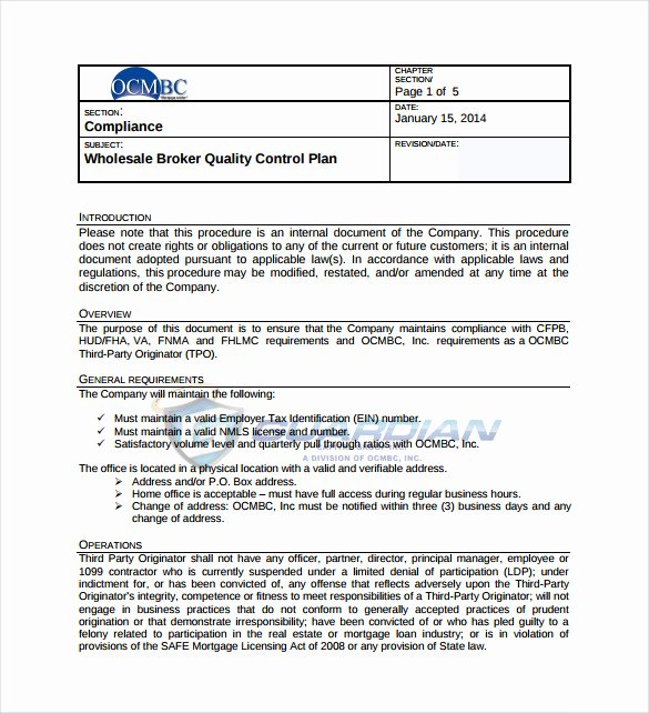Quality assurance Template Documents New 10 Quality Control Plan Templates – Free Sample Example
