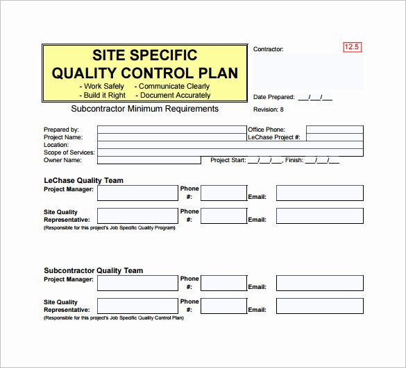 Quality assurance Template Documents New Quality Control Plan Template