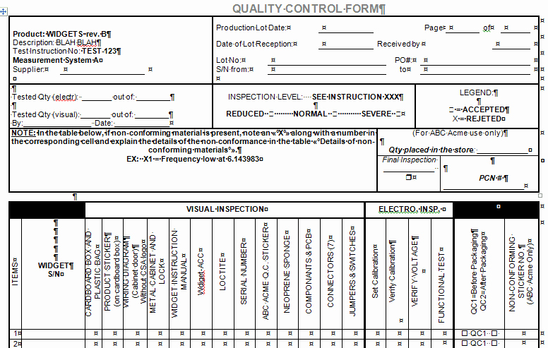 Quality Control Checklist Template Awesome Quality Control form for Microsoft Word and Excel