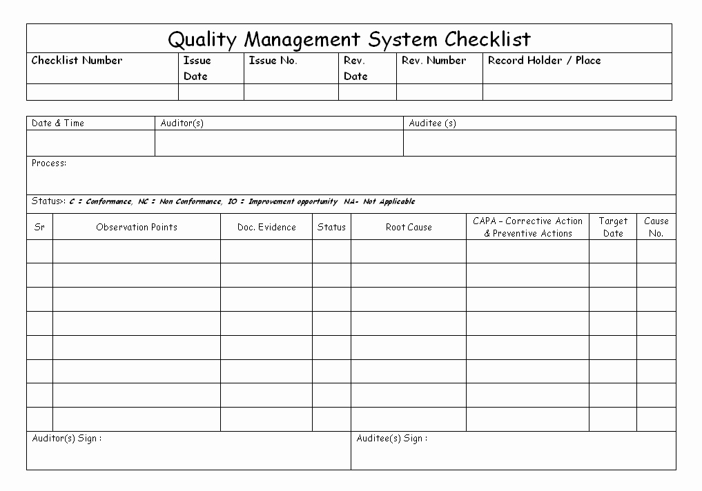Quality Control Checklist Template Awesome Quality Management System Checklist