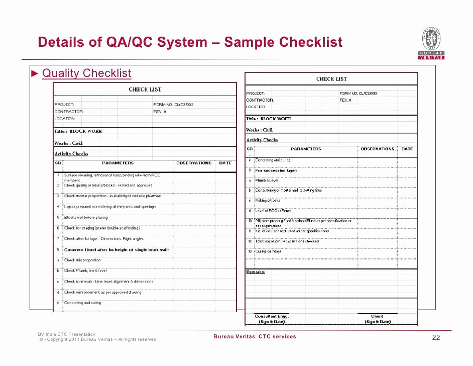 Quality Control Checklist Template Beautiful Quality assurance Excel Template Control Plan Inspection