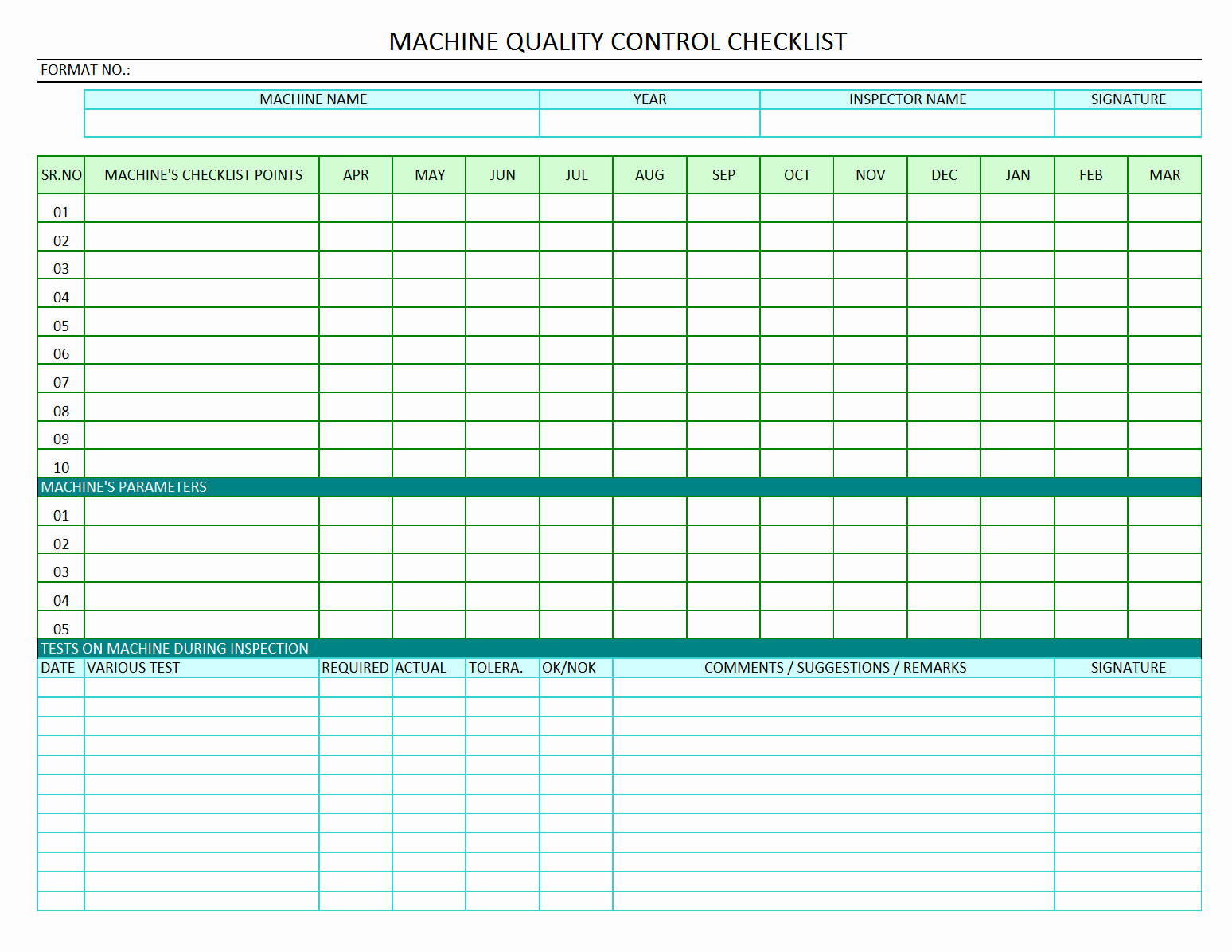 Quality Control Checklist Template New Machine Quality Control Checklist Quality Audit Of Machine