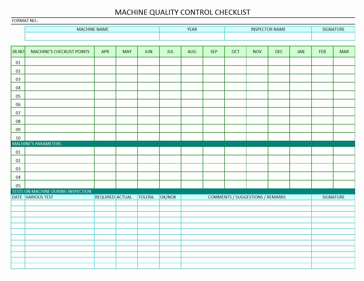 Quality Control Checklist Template New Machine Quality Control Checklist Quality Audit Of Machine
