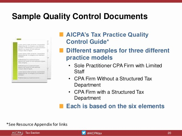 Quality Control Document Template Awesome Tailor Made Tax Practice Quality Controls Presented at the