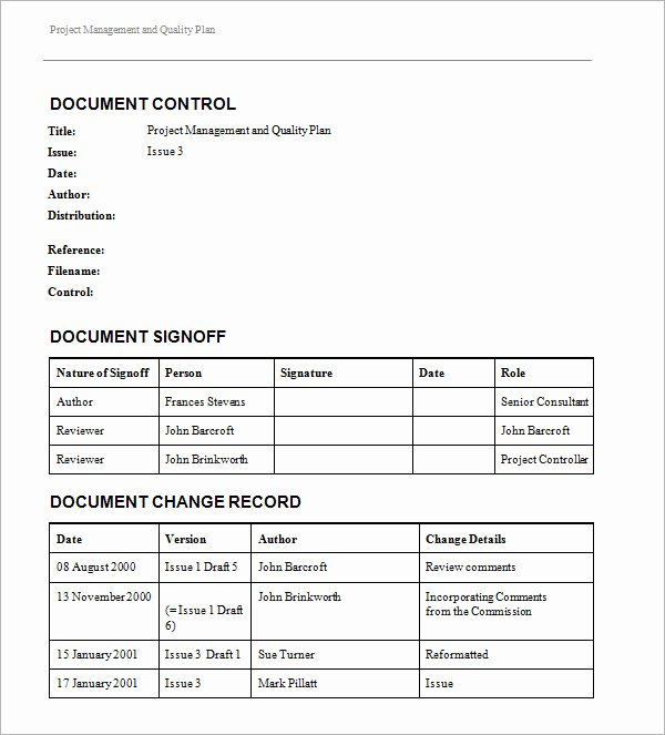 Quality Control Document Template Elegant 10 Quality Management Plan Examples Pdf