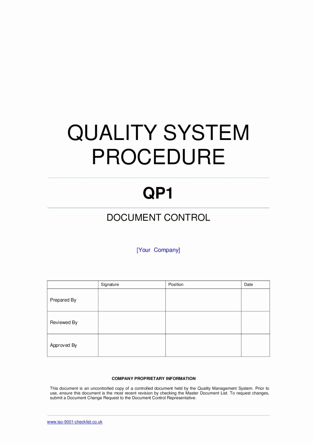 Quality Control Document Template Fresh Document Control Procedure Example by iso 9001 Checklist