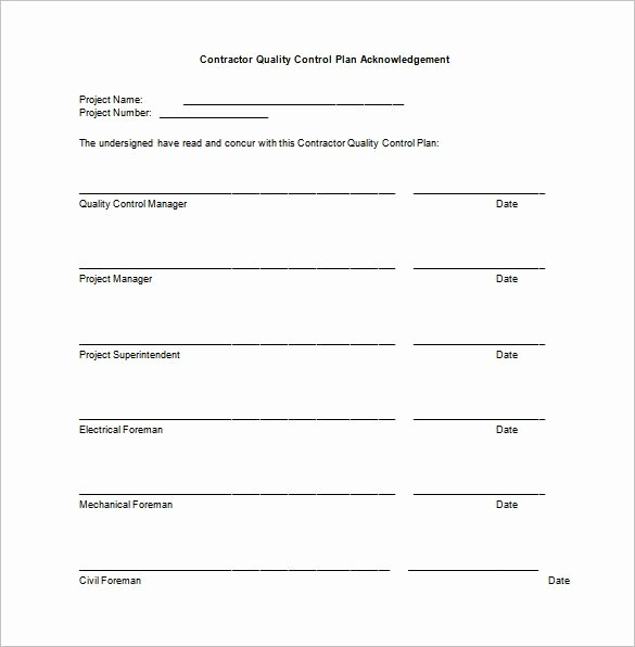 Quality Control Document Template Lovely 7 Quality Control Plan Template Word Pdf