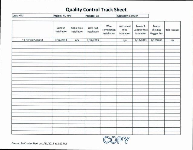 Quality Control form Template Elegant 7 12 13 Contech Quality Control Track Sheet