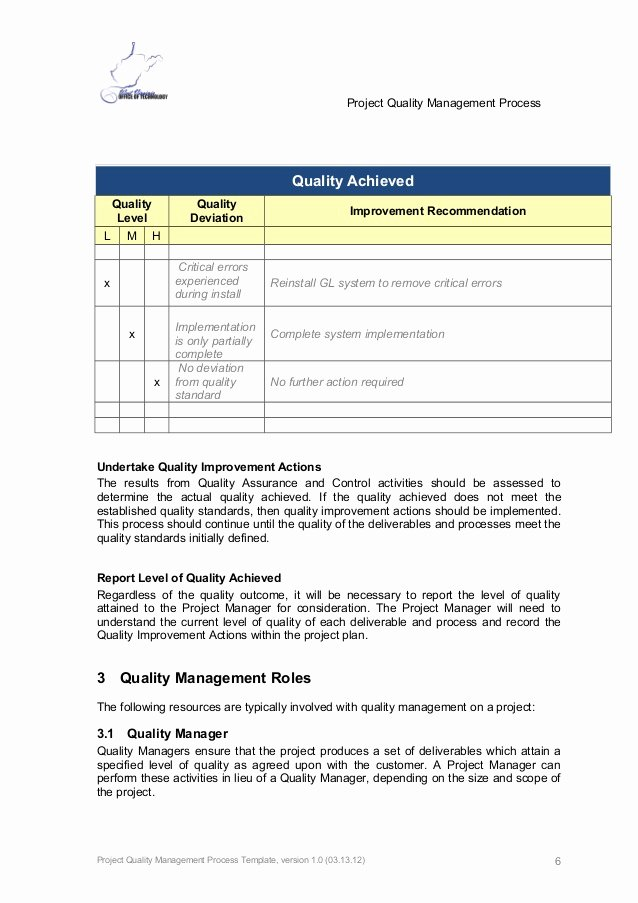 Quality Control form Template Elegant Quality Management form