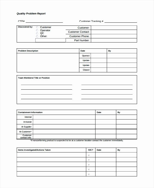Quality Control form Template Lovely 5 Quality Non Conformance Report Template Certificate