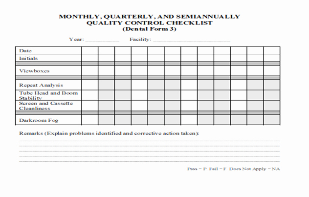 Quality Control form Template Luxury Dental Radiography Qa and Qc