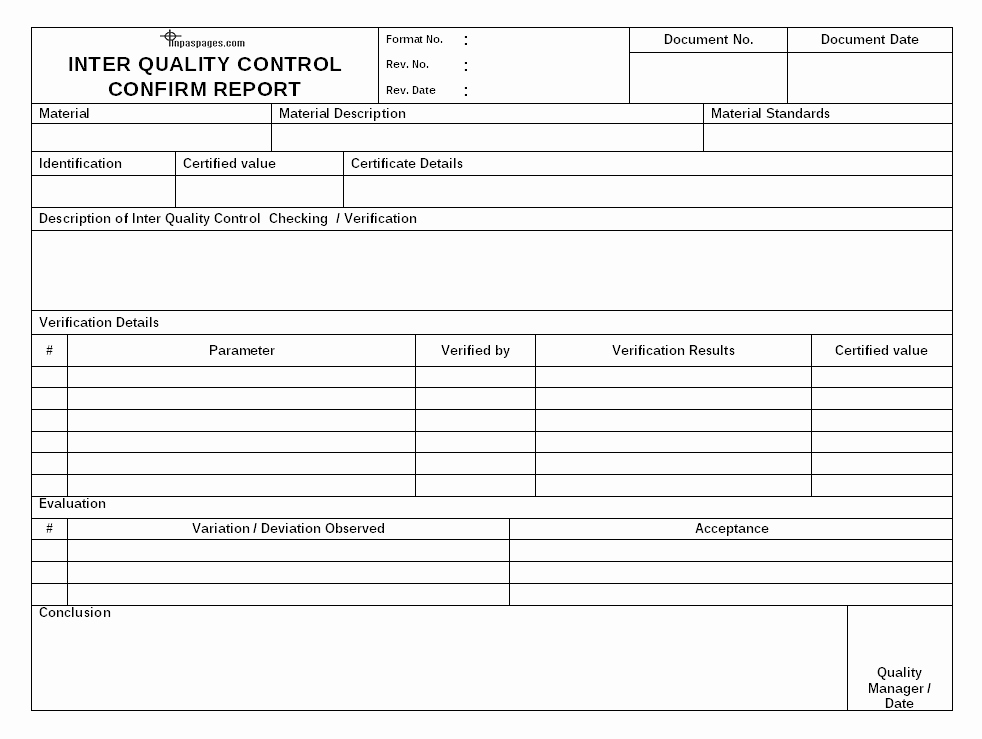 Quality Control form Template New Inter Quality Control Checking Process