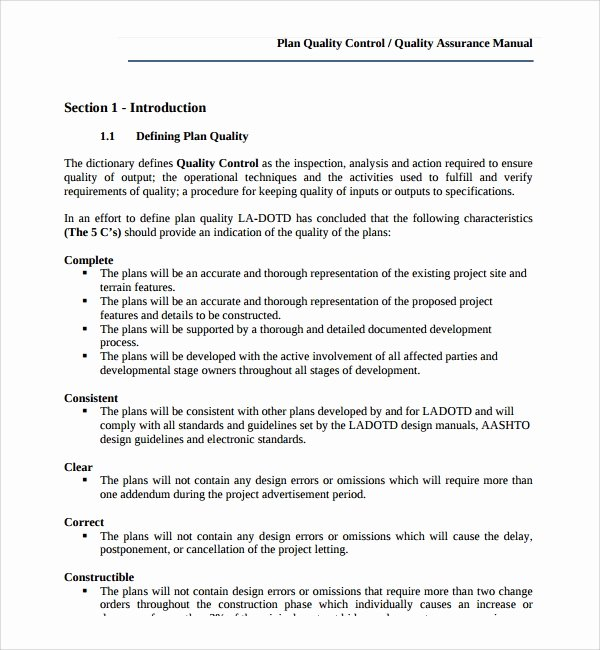Quality Control Program Template Beautiful 9 Quality Control Plan Templates