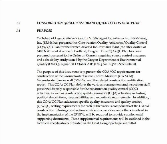 Quality Control Program Template Inspirational 7 Quality Control Plan Template Word Pdf