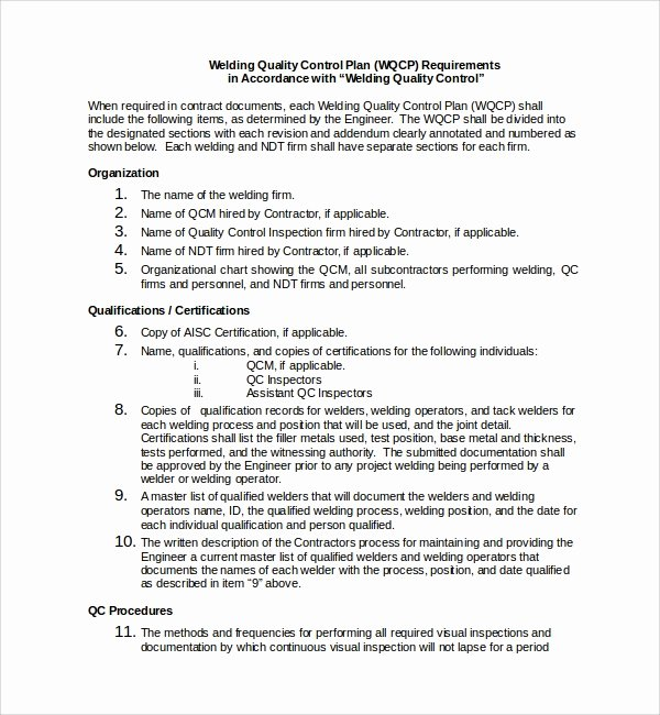 Quality Control Program Template Inspirational 9 Quality Control Plan Templates