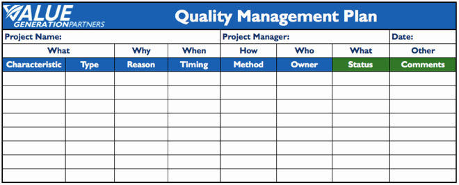 Quality Control Program Template Inspirational Project Management – Page 2 – Value Generation Partners Vblog
