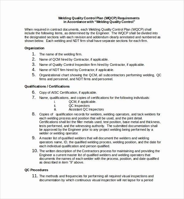 Quality Control Program Template Inspirational Sample Quality Control Plan Template 8 Free Documents