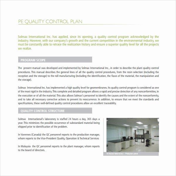 Quality Control Program Template New 9 Quality Control Plan Templates