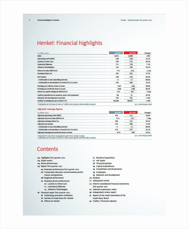 Quarterly Finance Report Template Unique 7 Quarterly Financial Report Templates Pdf Doc