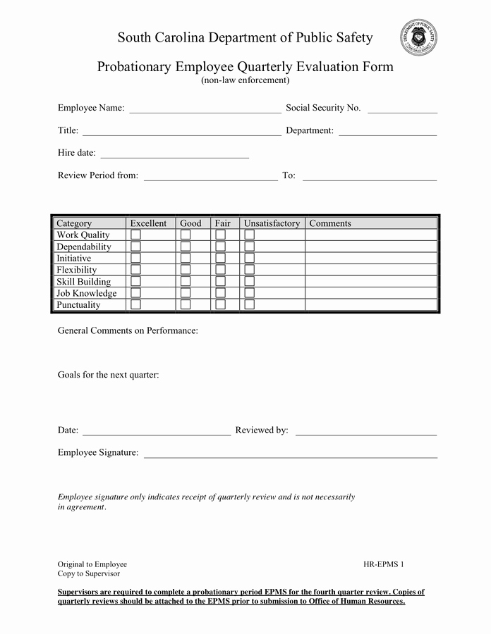 Quarterly Performance Reviews Template Awesome Employee Quarterly Evaluation form In Word and Pdf formats