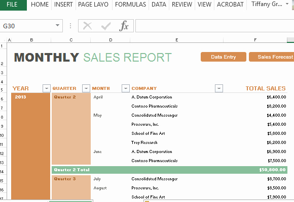 Quarterly Report Template Excel Lovely Monthly Sales Report and forecast Template for Excel