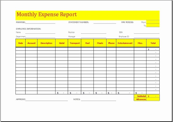 Quarterly Report Template Excel Luxury Monthly Expense Report Template Download at