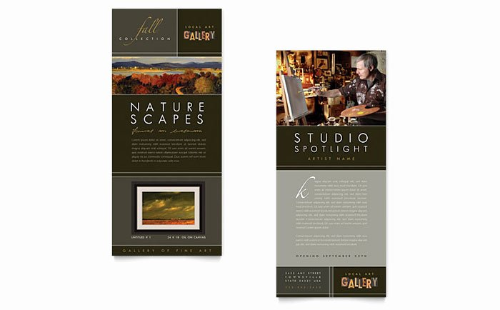 Rack Card Template Indesign Luxury Art Gallery & Artist Rack Card Template Design