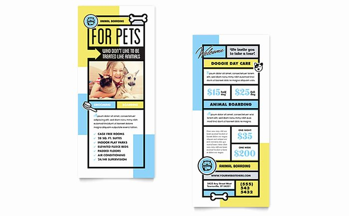 Rack Card Template Indesign Unique Pet Boarding Rack Card Template Design