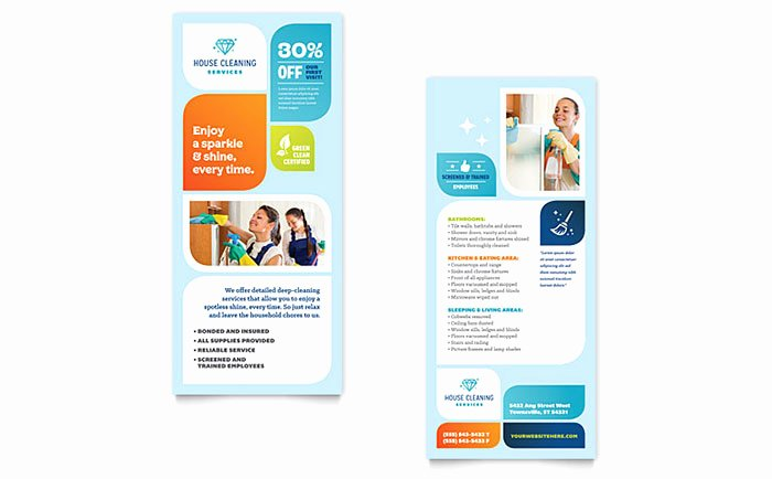 Rack Card Template Publisher Elegant Cleaning Services Rack Card Template Word & Publisher