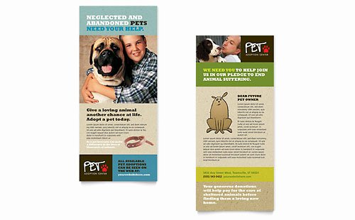 Rack Card Template Publisher Lovely Animal Shelter & Pet Adoption Business Card & Letterhead