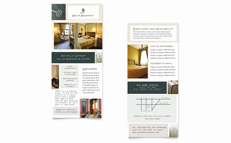 Rack Card Template Publisher Luxury Bed & Breakfast Motel Rack Card Template Word & Publisher