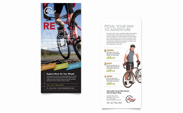 Rack Card Template Publisher Luxury Bike Rentals & Mountain Biking Rack Card Template Word