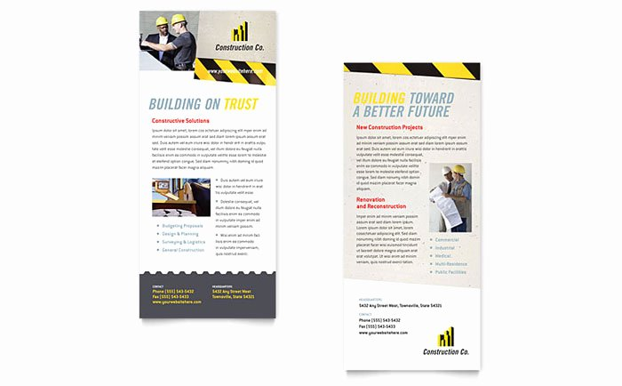 Rack Card Template Publisher New Industrial & Mercial Construction Rack Card Template Design