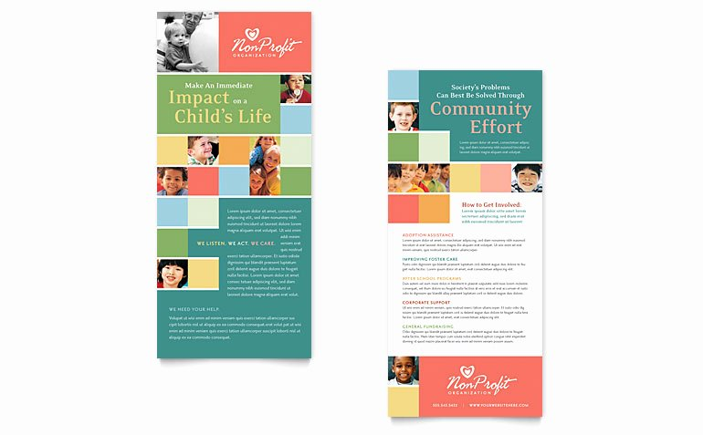 Rack Card Template Publisher New Non Profit association for Children Rack Card Template