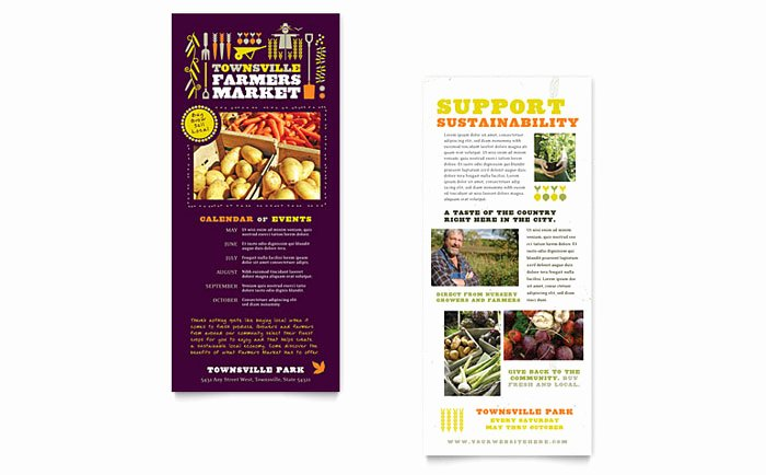 Rack Card Template Word Beautiful Farmers Market Rack Card Template Design