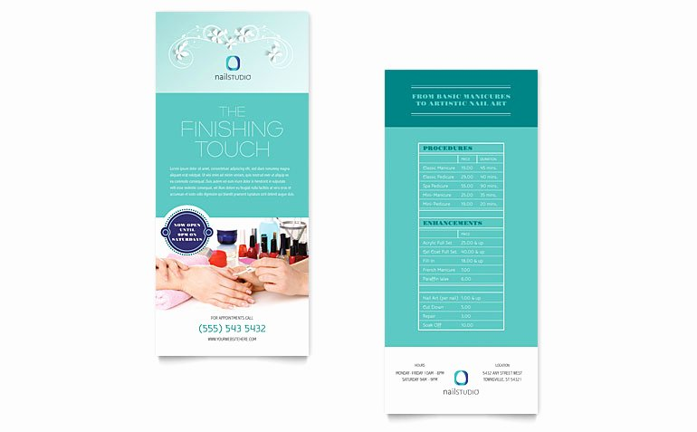 Rack Card Template Word Elegant Nail Technician Rack Card Template Word & Publisher